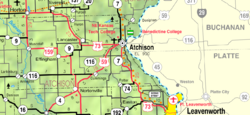 KDOT map of Atchison County (legend)