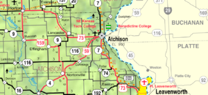 Atchison County, Kansas - Image: Map of Atchison Co, Ks, USA