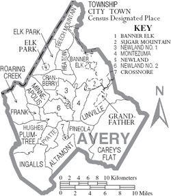 Map of Avery County North Carolina With Municipal and Township Labels.PNG