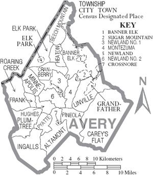 Avery County, North Carolina - Map of Avery County, North Carolina With Municipal and Township Labels