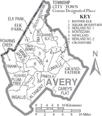 Avery County, North Carolina - Map of Avery County, North Carolina With Municipal and Township Labels