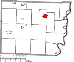 Location of St. Clairsville in Belmont County