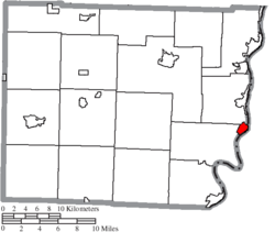 Location of Shadyside in Belmont County