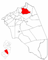 Mansfield Township highlighted in Burlington County. Inset map: Burlington County highlighted in the State of New Jersey.