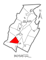 Map of Blair County, Pennsylvania highlighting Freedom Township