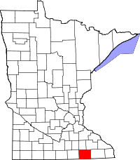 Map of Minnesota highlighting Mower County