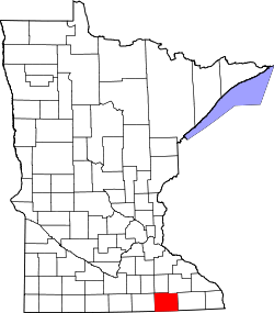 Map of Minnesota highlighting Mower County.svg
