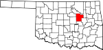 State map highlighting Creek County