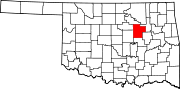 Map of Oklahoma highlighting Creek County.svg