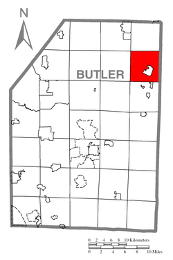 Map of Butler County, Pennsylvania highlighting Parker Township