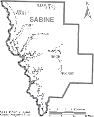 Sabine Parish, Louisiana - Map of Sabine Parish, with municipal labels