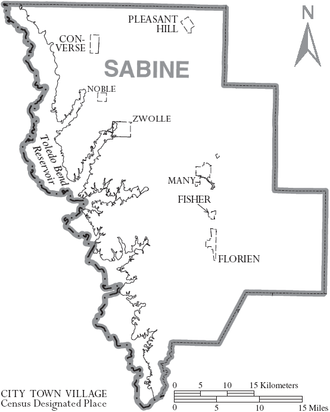 Sabine Parish, Louisiana - Map of Sabine Parish, with municipal labels