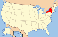 Map of the U.S. highlighting New York