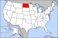 Map of USA highlighting North Dakota