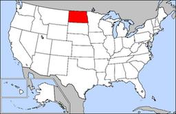 Kort over USA med North Dakota markeret