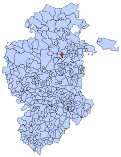 Municipal location of Piérnigas in Burgos province