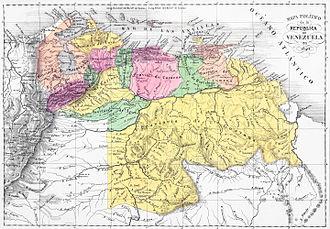 State of Venezuela - Image: Mapa politico de Venezuela 1840 restored version