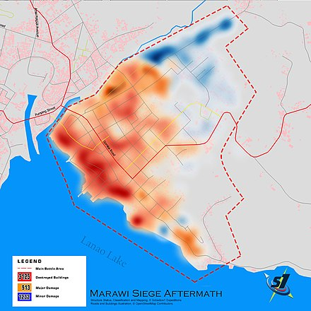 Map of destroyed infrastructure following the Siege of Marawi, 2017 Marawi-structures-stats.jpg