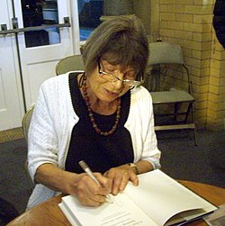Drabble at a book signing at Beverley Bookfest in Beverley, England in 2011