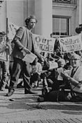 Mario Savio at a rally at Sproul Hall, Berekley California, 1966