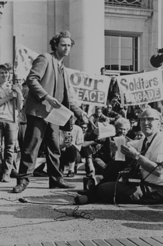 Free Speech Movement - Mario Savio leading a rally on the steps of Sproul Hall in 1966