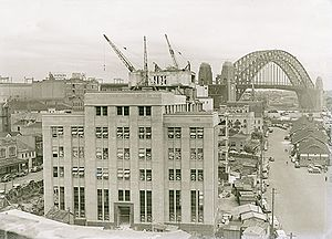 State Archives and Records Authority of New South Wales - This image is pre-1952 and shows the construction of The Maritime Services Building (now the Museum of Contemporary Art). The location of the Records Management Office in 1978 was on a street parallel to this building.