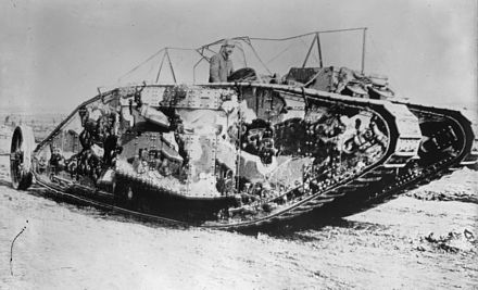 The first tank to engage in battle, the British Mark I tank (pictured in 1916) with the Solomon camouflage scheme Mark I series tank.jpg