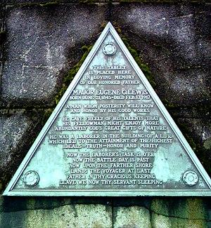 Eugene C. Lewis - Plaque on mausoleum.