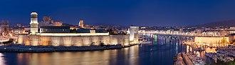 Old Port of Marseille - Old port of Marseille, at night, seen from the Pharo park