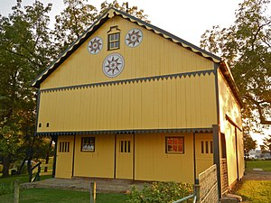 Hex sign - Barn with compass rose hex signs at the historic Mascot Mills in Lancaster County