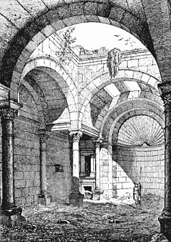 "19th-century drawing of interior space of the Roman temple (""Praetorium"") in al-Masmiyah"