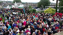 Singers gather for the massed sing at the Street Choirs Festival, Kendal, 2017