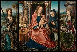 Triptych - Master of Frankfurt, Sagrada Familia con ángel músico, Santa Catalina de Alejandría, Santa Bárbara, 1510–1520, Museo del Prado, Madrid