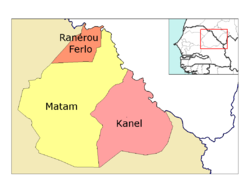 Matam région, divided into 3 départements