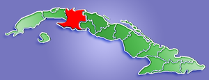 Location of Matanzas Province in Cuba