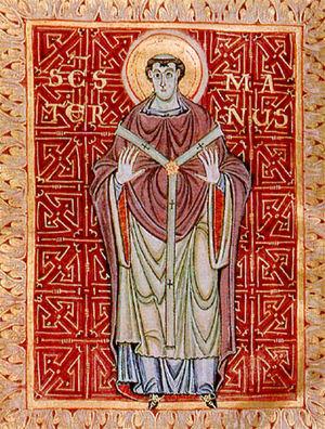 Egbert Psalter - Maturnus of Cologne, from the earlier illuminations