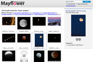 "Web search engine - The results of a search for the term ""lunar eclipse"" in a web-based image search engine"