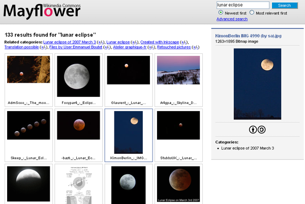 "The results of a search for the term ""lunar eclipse"" in a web-based image search engine Mayflower Wikimedia Commons image search engine screenshot.png"