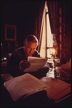 McCall using kerosene lamp.jpeg