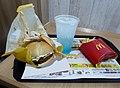 McDonald's Kanazawa black curry cutlet burger set (fried potato & McFizz Blue Hawaii).jpg