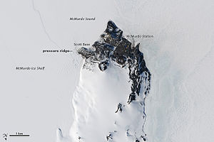 Scott Base - Annotated view over Scott Base, also showing McMurdo Station and the McMurdo Ice Shelf