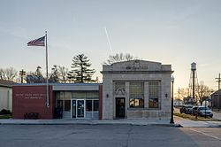 Post office, bank, and water tower in Mead, Nebraska