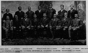 John Mitchell Jr. - Mechanics Savings Bank Board of Directors printed in 1902. Mitchell is fourth from the left in the front row.