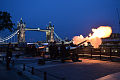 Members of the Honourable Artillery Company firing their guns at the Tower of London.jpg