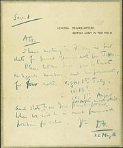 Memo from Haig to Macready about Somme attack date 1916