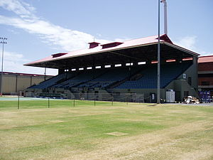 Memorial Drive Park - The main court at Memorial Drive, showing the northern grandstand
