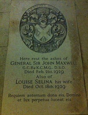 John Maxwell (British Army officer) - Memorial to General Sir John Maxwell and Louise Selina Maxwell in the crypt at York Minster