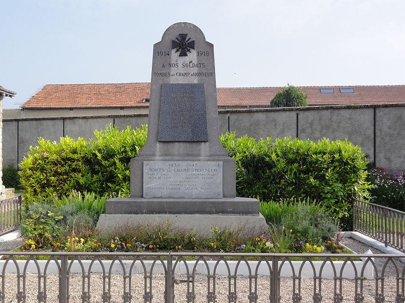 Menneville (Aisne) Monument aux morts