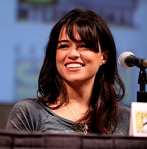 English: Actress Michelle Rodriguez on the Bat...