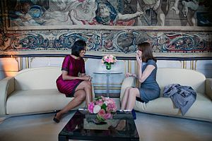 Carla Bruni - Carla Bruni with Michelle Obama, 3 April 2009